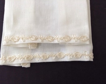 Two Small 100% Belgian Linen Embroidered Powder Room/Guest Towels