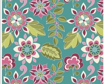 Botanique Flowers Teal Riley Blake