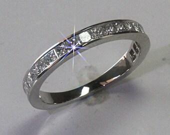 Princess Chanel Set Diamond Wedding / Eternity Band 1.4 CTW F-G Color VS Clarity