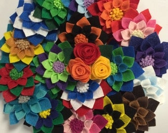 Felt Flower Pin - Colors of Your Choice
