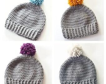 Gray crochet slouchy pom pom hat   slouchy pom pom beanie, baby pom pom hat, kids pom pom hat, kids slouchy hat, baby slouchy pom pom hat