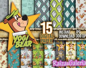 AWESOME YOGI Bear Digital Paper. Instant Download - Scrapbooking - Hannah-Barbera YOGI Bear Printable Paper Craft!