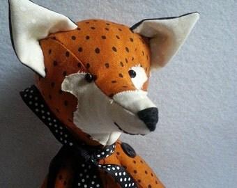 Fox Art doll, fox doll, stuffed fox doll, Fox softie