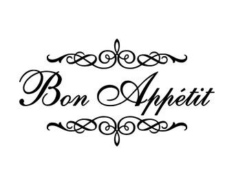 "Bon Appetit Vinyl Wall Decal  22"" by 12.5"" 0028"