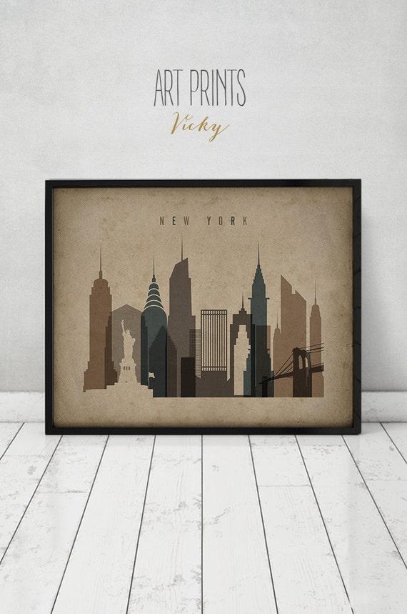 new york print poster wall art vintage style new york. Black Bedroom Furniture Sets. Home Design Ideas