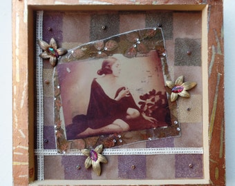 Elsa Vintage Photo Collage in Wood Shadowbox