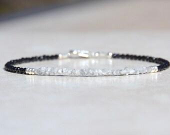 Diamond Bracelet, Black Spinel Bracelet, April Birthstone Bracelet, Raw Rough Diamond Beaded Gemstone Bracelet, Fine Silver, Birthday Gift
