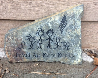 Engraved Proud Air Force Family Stone - Mothers Day Gift - Black Hills Stone - Slate - Ready To Ship