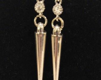 Silver Spike Dangle with Gem Hook Earrings