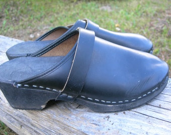 Vintage Swedish CLOGS Black Size 37 European Leather Clogs Wood Clogs Boho shoes Festival footwear