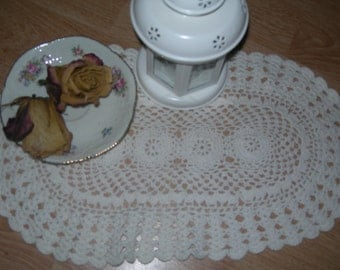 Vintage Shabby Chick White Crochet doily. White Doily.French Doily. Hand crochet doily,