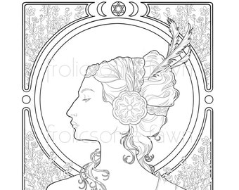 queen esther adult coloring page bible coloring page alfons mucha inspired