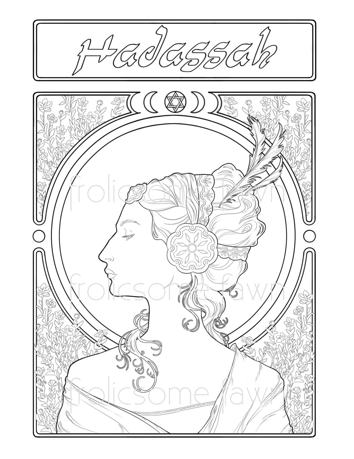 Printable coloring pages of queen esther - Queen Esther Adult Coloring Page Bible Coloring Page Alfons Mucha Inspired