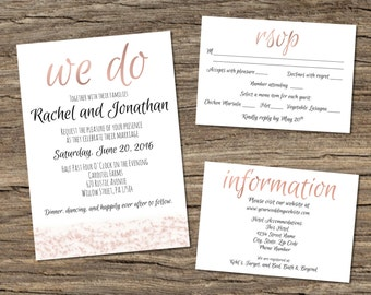 Rose Gold Printable Wedding Invitation, RSVP, and Info Card - Customizable