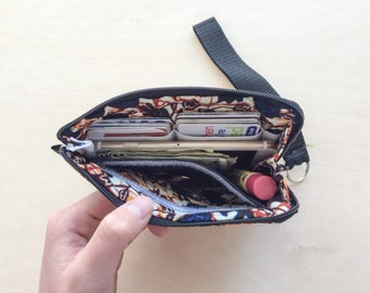Wristlet Wallet Zipper Card Pouch- Zippered pouch that holds cash, credit cards, coins, cell phones, and everything in between