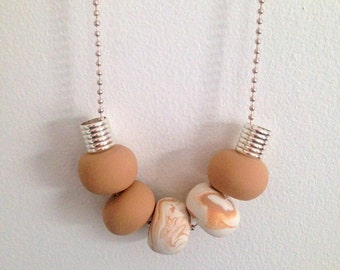 "Polymer Clay Necklace - ""Caramel Swirl"""