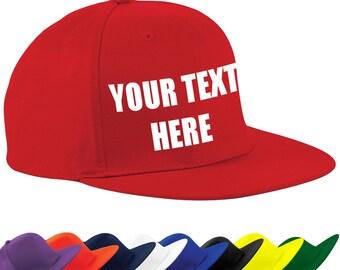 Custom printed, Personalised, flat peak, rapper cap