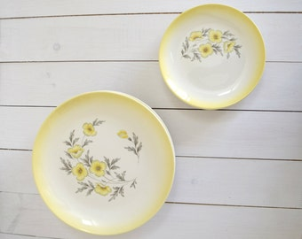 Vintage set of 8 Dumtone by Homer Laughlin set of yellow floral plates