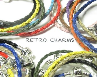 Multi-colored Engraved Braided Bracelets W/Sterling Silver Clamp
