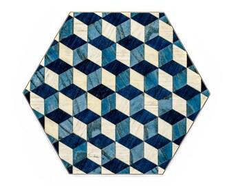 4 Hexagon tablemats blue Placemats Hexagonal tablemats Blue White Place mat set Modern tablemat Hexagon place mat hexagon Anniversary Gift