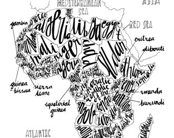Hand Drawn Typography Map of Africa