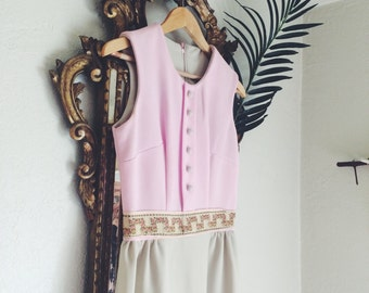 Handmade Vintage Pink Tan & Floral Dress From The 1960's