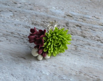 Polymer clay flower ring Green flower ring Adjustable floral ring Maroon lilac ring Chrysanthemum nature ring Rustic jewelry lady ring