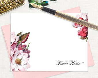personalized flat note cards - MAGNOLIA BLOSSOMS - set of 12 cards - floral stationery - stationary - botanical - pink envelopes