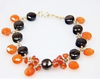 Neon Orange Carnelian Teardrop and Smoky Quartz Gold Filled Cluster Bracelet