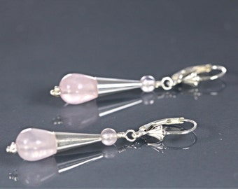 Rose Quartz Pear Drop with Bead Cap Sterling Silver Contemporary Earrings, Pink Bead Drop Earrings, Modern Lever Back Earrings