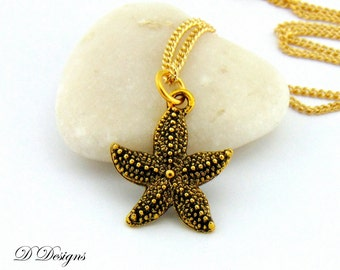 Starfish Necklace, Gold Starfish Charm Necklace, Gold Starfish Pendant, Gold Charm Necklace, Beach Necklace, Gifts for her, Trendy Necklace