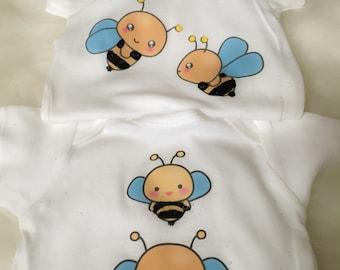 2 pk Glitter Bumble Bee Onesie Set