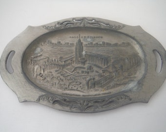 1930's World's Fair Hall of Science pewter tray-Rare-Vintage-Collectible-Americana