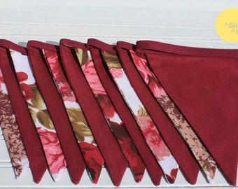 3m Roses & Maroon Double Sided Bunting