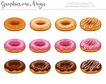 Painted Donuts - Digital Clipart Graphics Instant Download
