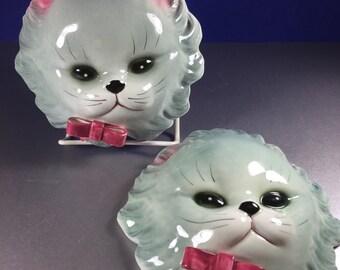 Wall Pocket/ Porcelain Grey Kitten Planters 2pc