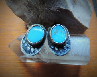 Sterling Turquoise Stud Post Earrings w/ Simple Hand Stamped Southwest Design