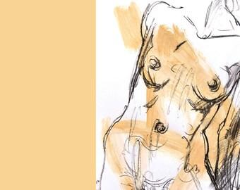 "Original figure drawing • 'Julia' – (approx. 14x23cm / 5 1/2x9"") by Simon Palmer (Australia)"