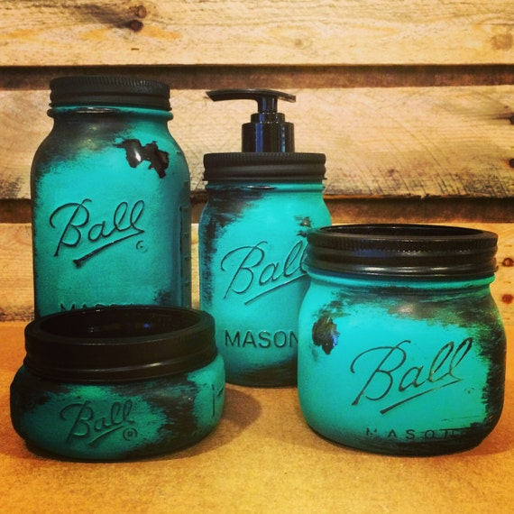 Mason jar bathroom set rustic turquoise mason jars turquoise for Turquoise bathroom accessories sets