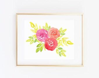Printable Watercolor Flower - Floral Watercolor Print - Flower Wall Art - Gallery Wall - Rose Print - Rose Art - Floral Watercolor Painting