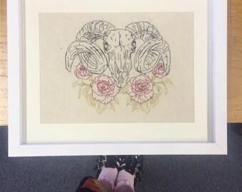 Framed rams head embroidery