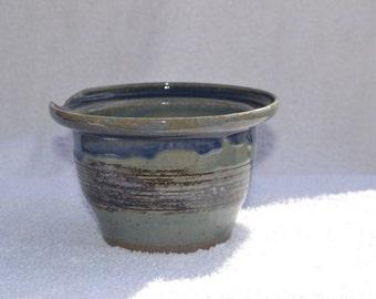 Flared Rim Green and Blue Ceramic Bowl