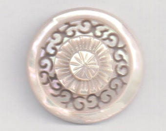Antique mother of pearl hand carved  button
