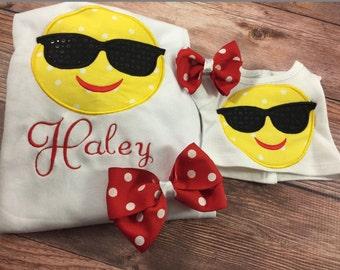 Matching Girl Doll Shirts;Made To Match;Emoji Shirts;Sunglass Emoji;Dollie And Me;18 Inch Doll Clothes;Baby Doll Clothes;Custom Doll Clothes