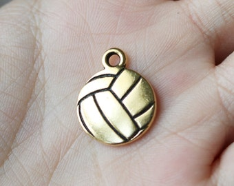 Gold Volleyball Sports Charm Volleyball Pendant School Sports Team Charm Sports Bracelet 029TCA