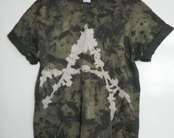 Tie Dye T-Shirt acid wash T-shirt hipster festival grunge Retro 90s punk dip dye unisex rave anarchy symbol top