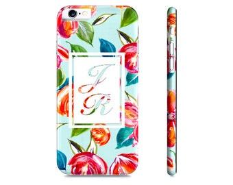 Floral iPhone 6 Case - Monogram iPhone Case - Custom Initial Phone Case - Personalized Phone Case - Custom Samsung Galaxy Case
