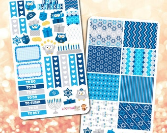 Hanukkah Themed Planner Stickers
