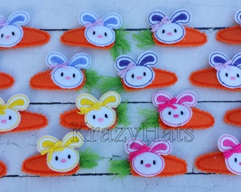 Bunny embroidered felt hair clips.Set of two clips.