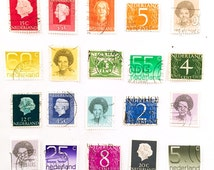 Netherlands rainbow colours used postage stamps x 20 - Dutch Holland - off paper for collage, stamp collecting, crafting and scrapbooking